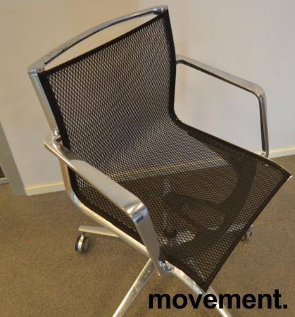 Lekker konferansestol på hjul i krom / sort mesh, pent brukt bilde 3