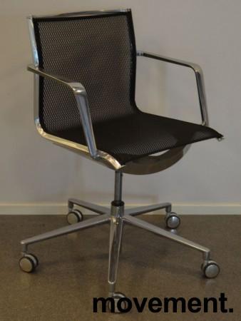 Lekker konferansestol på hjul i krom / sort mesh, pent brukt bilde 1