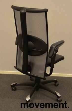 Kontorstol: Håg Inspiration H09 9220 i sort skinn / mesh, pent brukt bilde 2