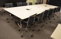 Møtebord i hvitt / satinert stål, 400x150cm, passer 12-14personer, pent brukt