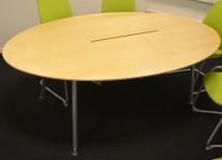 Lekkert møtebord i bjerk fra Skandiform med grå ben og kabelluke, 200x120cm, 6-8pers, pent brukt