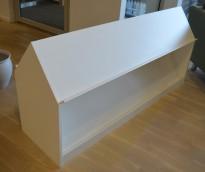 Horreds Block brosjyrehylle / tidsskrifthylle i hvitt, bredde 150cm, 2 høyder, pent brukt