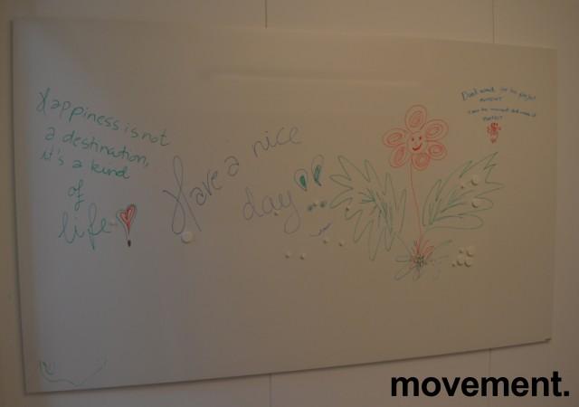 Vegghengt whiteboard i hvitt fra Lintex, frameless, 200x120cm, pent brukt bilde 1