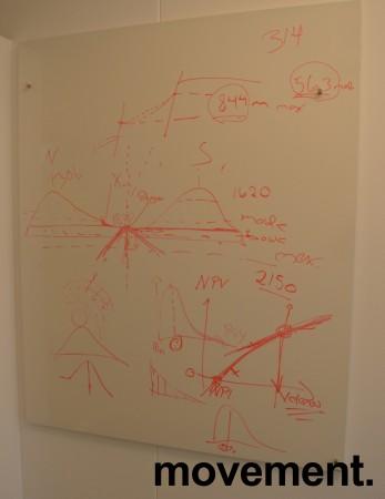 Vegghengt whiteboard i hvitt fra Lintex, frameless, 100x120cm, pent brukt bilde 1