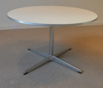 Fritz Hansen rundt loungebord A222 Supersirkulær, Ø=75cm, H=47cm, hvit plate, alu kant, pent brukt