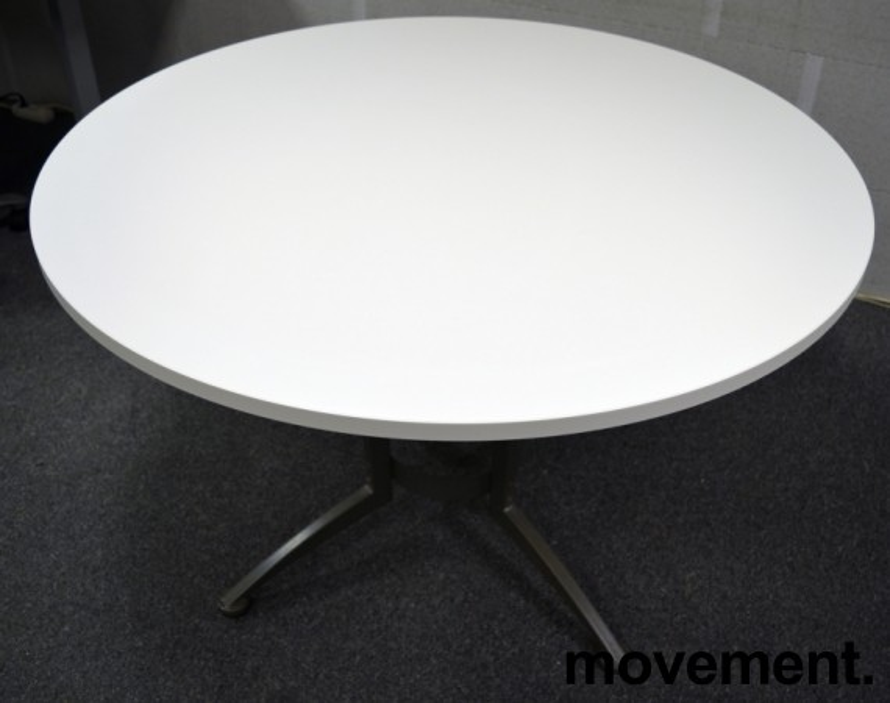 Rundt møtebord / konferansebord / kantinebord i hvitt / grått fra Kinnarps, Ø=120cm, ny plate / brukt understell bilde 3