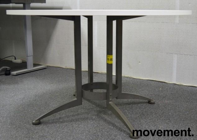 Rundt møtebord / konferansebord / kantinebord i hvitt / grått fra Kinnarps, Ø=120cm, ny plate / brukt understell bilde 2