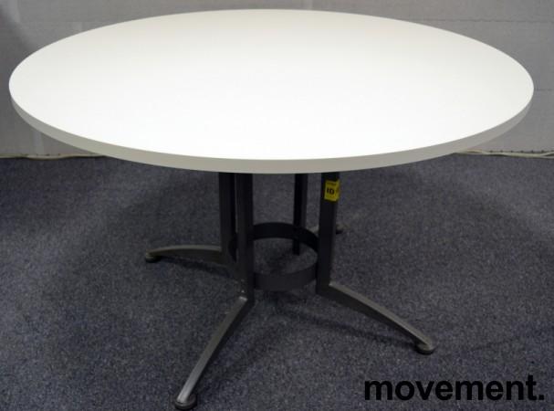Rundt møtebord / konferansebord / kantinebord i hvitt / grått fra Kinnarps, Ø=120cm, ny plate / brukt understell bilde 1