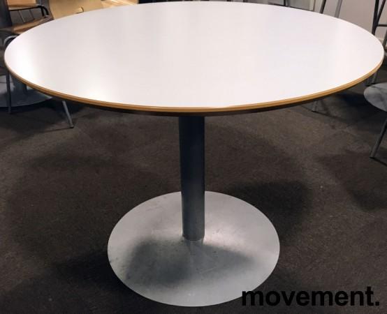 Rundt møtebord / konferansebord / kantinebord lysegrå bordplate Ø=90cm, H=69cm, pent brukt