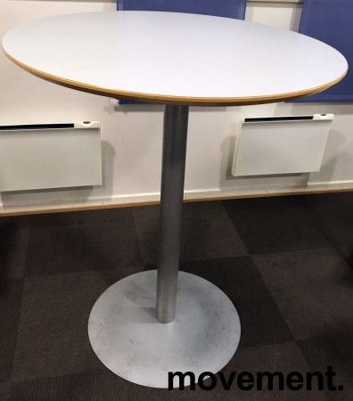 Rundt, solid ståbord / mingebord med lys grå plate, Ø=90cm, H=107cm, pent brukt bilde 1