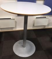 Rundt, solid ståbord / mingebord med lys grå plate, Ø=90cm, H=107cm, pent brukt