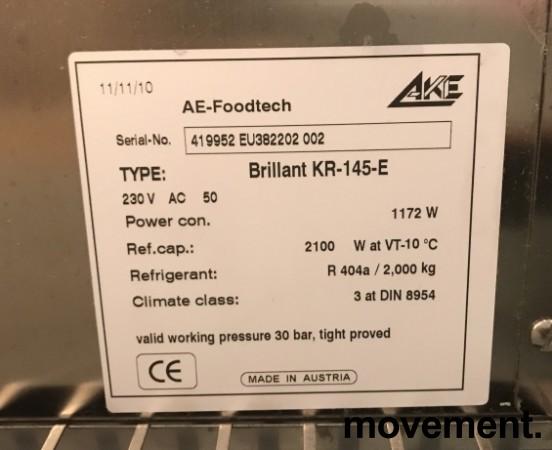 Lekkert bruskjøleskap / Serveringskjøl fra AKE for kantine / kiosk i rustfritt stål, 145cm bredde, 200,5cm høyde, pent brukt bilde 5