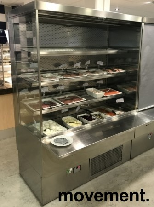 Lekkert bruskjøleskap / Serveringskjøl fra AKE for kantine / kiosk i rustfritt stål, 145cm bredde, 200,5cm høyde, pent brukt bilde 2
