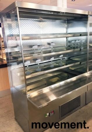 Lekkert bruskjøleskap / Serveringskjøl fra AKE for kantine / kiosk i rustfritt stål, 145cm bredde, 200,5cm høyde, pent brukt bilde 1