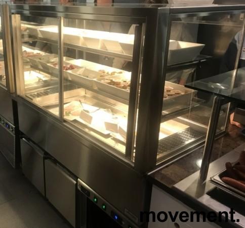 Lekker serveringskjøl / kantinedisk fra Rustfrie Bergh, åpen front, glass skyvedør bakside, 130cm bredde, pent brukt bilde 6
