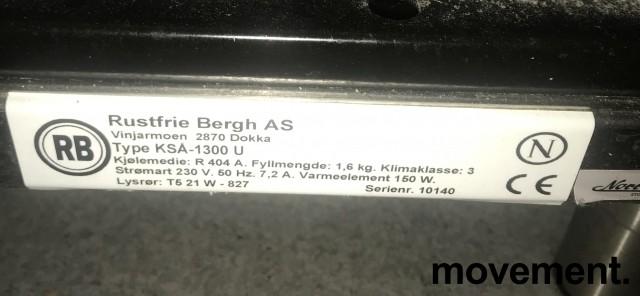 Lekker serveringskjøl / kantinedisk fra Rustfrie Bergh, åpen front, glass skyvedør bakside, 130cm bredde, pent brukt bilde 3