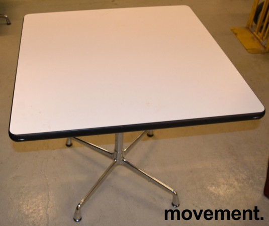 Lite møtebord / konferansebord Vitra / Eames segmented-serie, hvitt med sort kant / krom, 80x80cm, pent brukt bilde 1
