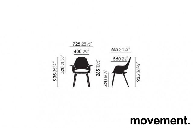Vitra Organic conference chair, design: Charles Eames & Eero Saarinen, gråbrunt stoff, ben i sort eik, pent brukt bilde 4