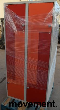 Garderobeskap i stål, 4 rom, grå med rød dør, bredde 80cm, høyde 175cm, brukt bilde 1