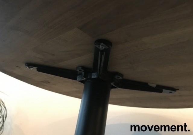 Kafebord med rund, heltre bordplate, Ø=79cm, H=77cm, sort understell, pent brukt bilde 2