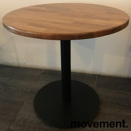 Kafebord med rund, heltre bordplate, Ø=79cm, H=77cm, sort understell, pent brukt bilde 1