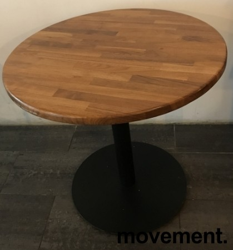 Kafebord med rund, heltre bordplate, Ø=79cm, H=77cm, sort understell, pent brukt bilde 3
