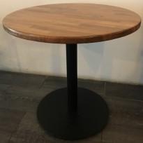Kafebord med rund, heltre bordplate, Ø=79cm, H=77cm, sort understell, pent brukt