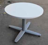 Loungebord i hvitt / grått, rund plate Ø=70cm, H=56cm, lite kaffebord fra Kinnarps, pent brukt