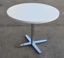 Loungebord i hvitt / krom, rund plate Ø=70cm, H=62cm, lite kaffebord fra Materia, pent brukt
