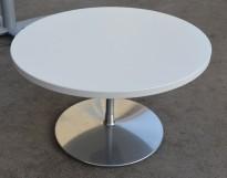 Loungebord i hvitt / krom, rund plate Ø=70cm, H=41cm, pent brukt