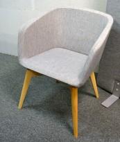 Loungestol / besøksstol Meg, grått stoff, ben i ask, NY / UBRUKT