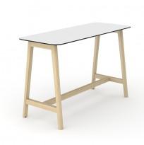 Barbord / ståbord i hvit HPL med avrundet sort kant, ben i heltre ask, 180x70cm, høyde 105cm, NY / UBRUKT