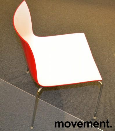 Arper Catifa 46, stablebar design-stol i plast/krom, Hvit/Rød, pent brukt bilde 3