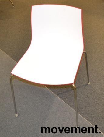 Arper Catifa 46, stablebar design-stol i plast/krom, Hvit/Rød, pent brukt bilde 2
