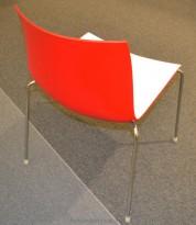 Arper Catifa 46, stablebar design-stol i plast/krom, Hvit/Rød, pent brukt