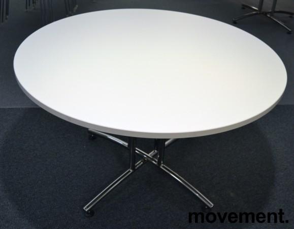 Rundt møtebord / konferansebord / kantinebord i hvitt / krom fra EFG, Ø=120cm, pent brukt bilde 1