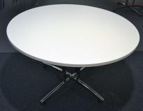 Rundt møtebord / konferansebord / kantinebord i hvitt / krom fra EFG, Ø=120cm, pent brukt