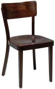 Solid kafèstol / restaurantstol fra Satelliet i brunbeiset treverk, pent brukt bilde 1