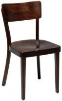 Solid kafèstol / restaurantstol fra Satelliet i brunbeiset treverk, pent brukt