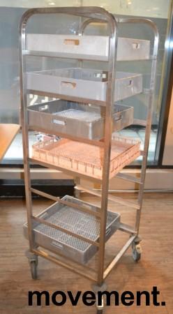 Oppvasktralle i rustfritt stål for oppvaskbakker, 7 hyller, 165 cm høyde, pent brukt bilde 2