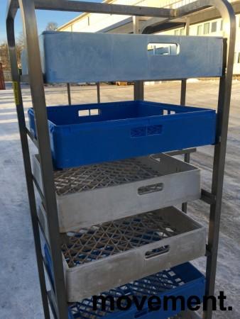 Oppvasktralle i rustfritt stål for oppvaskbakker, 7 hyller, 165 cm høyde, pent brukt bilde 4