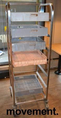 Oppvasktralle i rustfritt stål for oppvaskbakker, 7 hyller, 165 cm høyde, pent brukt bilde 1