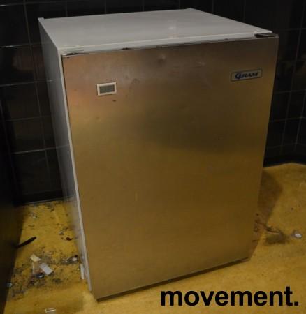 Gram fryseskap for plassering under benk, front i rustfritt stål, bredde 60cm, høyde 83cm, pent brukt