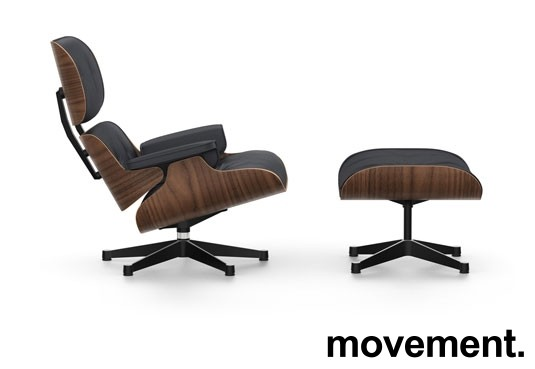 Vitra Lounge Chair with Ottoman, LCH, design: Charles & Ray Eames, sort skinn / sortpigmentert valnøtt, NY/UBRUKT bilde 1