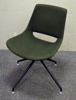 Konferansestol i mørkt grønt stoff fra Arper, Palm, pent brukt