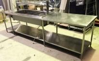 Arbeidsbenk i rustfritt stål, med vannbad for 4xGN, 330cm bredde, pent brukt