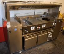Komplett wok-linje, med wok, vannbad, stekebord, avtrekk og kjølebenk, på hjul, pent brukt 2014-modell, ny pris