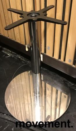 Solide understell / bordben / søylefot med rund fot for møtebord i krom, høyde 73,5cm+plate, pent brukt