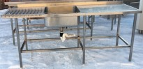 Arbeidsbenk i rustfritt stål med kum / oppvaskbenk, 200cm bredde, pent brukt