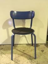 Solid kafestol / restaurantstol fra LaPalma, modell Stil, blått metall med antrasitt pute i polyuretan, brukt